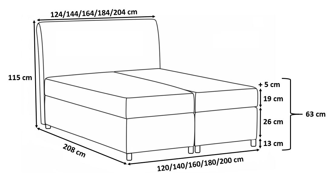 Łóżko kontynentalne Bari